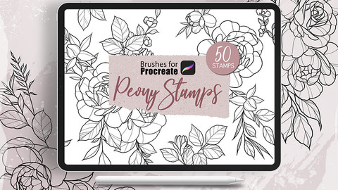 Peony Stamps Tattoo - Procreate