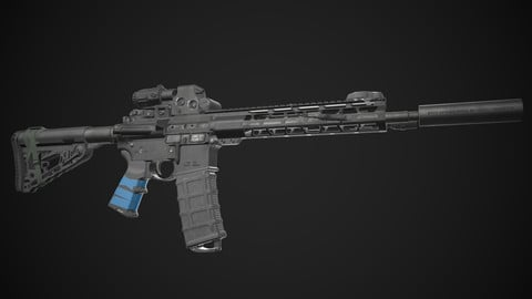 AR15 Rifle with Upgrades (Game Ready)
