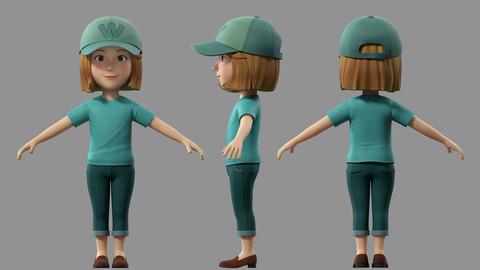cartoon girl woman