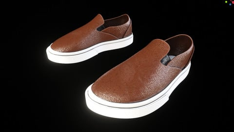 Men's Brown Leather Vans - PBR - 4K Textures - Blender Cycles and Eevee