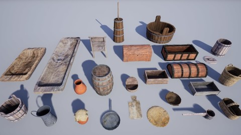 Collection of 25 Medieval Village Household Assets