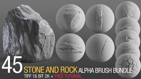 45 stone and rock alpha brush bundle v2 + FREE tutorial