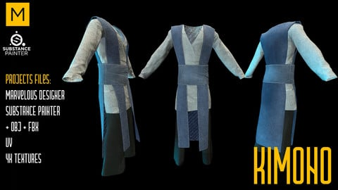 Kimono. Marvelous & Substance projects. FBX & OBJ. 4K Textures.