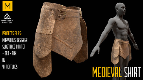 Medieval Skirt. Marvelous & Substance projects. FBX & OBJ. 4K Textures.
