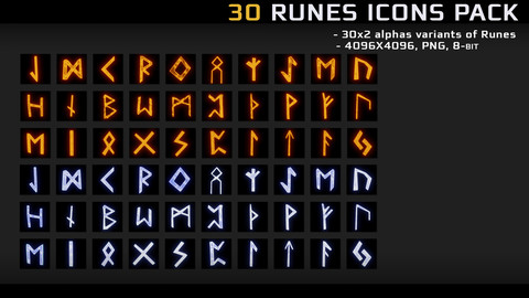 30 runes icons pack
