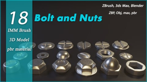 Bolt and Nuts IMM Brush + 3d model + textures (obj,max)