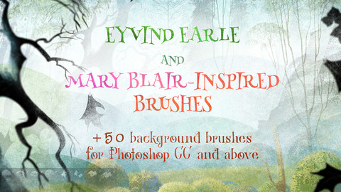 Eyvind Earle and Mary Blair-inspired background brushes