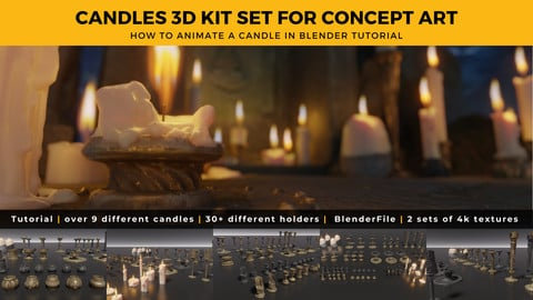Candles 3D Kit + Candle Animation Tutorial in Blender