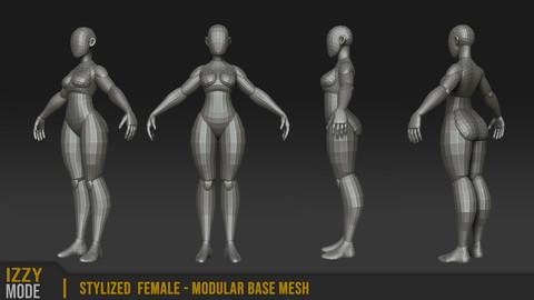 Stylized Female - Modular Base Mesh