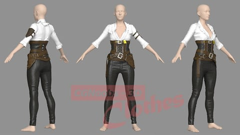 Female War Outfit - 50 Marvelous Designer and Clo3D
