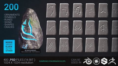 (UPDATED) 355 Runes (1420 Alpha Textures)| Symbols | Ornaments | Signs | Shapes | Alpha Texture Zbrush Blender | Zbrush & Blender Brushes