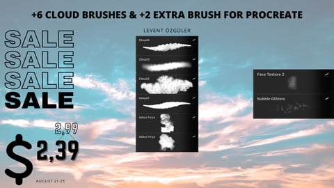 +6 Cloud Brushes & +2 Extra Brush for Procreate