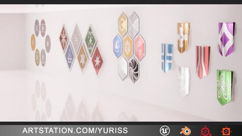 Pack of 27 3D shields + UE4 + Substance Painter + Substance designer + Blender