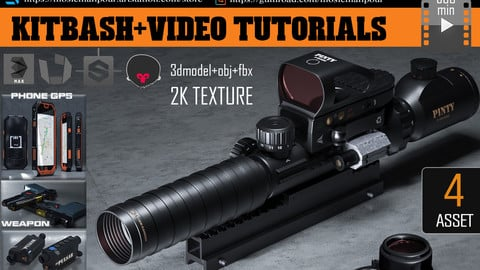 kitbash weapon+optics laser+camera night+phone gps+580 min video tutorials