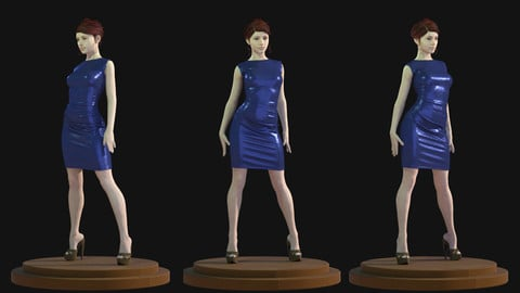 FREE ! Female Blue Satin Dress - 51 Marvelous Designer and Clo3D