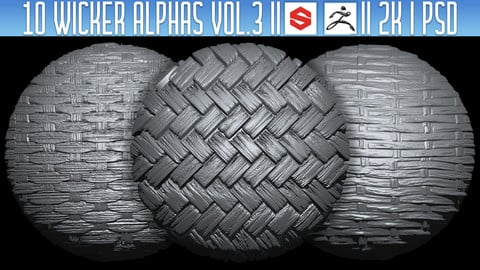 10 Wicker Alphas Vol.3 (ZBRush, Substance, 2K, PSD)