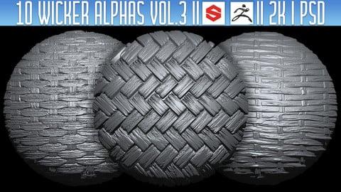 10 Wicker Alphas Vol.3 (ZBRush, Substance, 2K, PSD)