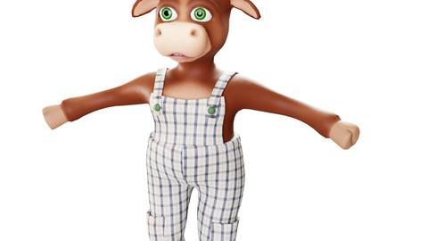 Bull 3d cartoon character