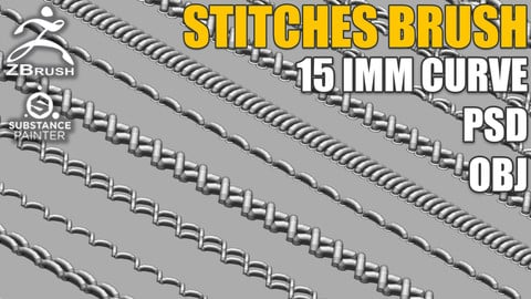 15 IMM Stitches Brush for Zbrush and Substance Painter (+ PSD, OBJ)