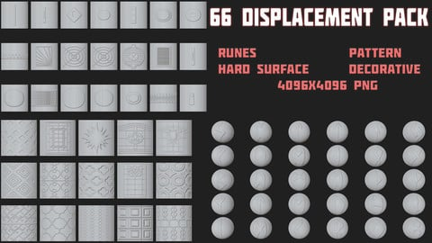 66 Displacement map Pack (Runes/Pattern/Hard Surface/Decorative)
