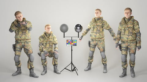 Animated young soldier in Bundeswehr military uniform 205