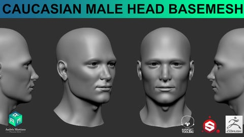 Caucasian Male Head BaseMesh