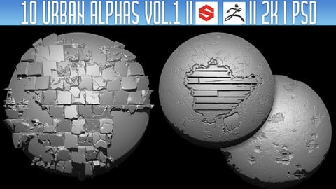 10 Urban Alphas Vol.1 (ZBRush, Substance, 2K, PSD)
