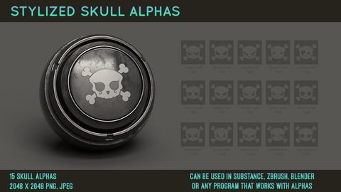 Stylized skull alphas - Halloween alpha pack for substance painter (PNG, JPEG)