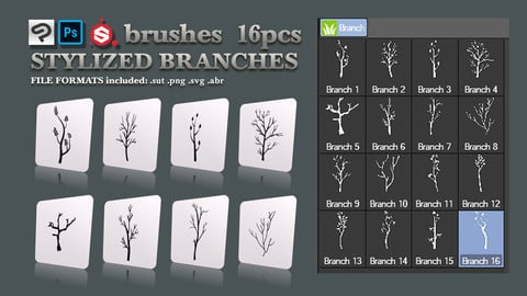Stylized Branch Brushes CSP SP PS SVG
