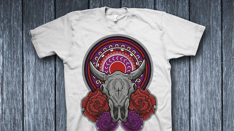 Bull skull with flowers. Illustration for use as print, poster, sticker, logo, tattoo, emblem and other.