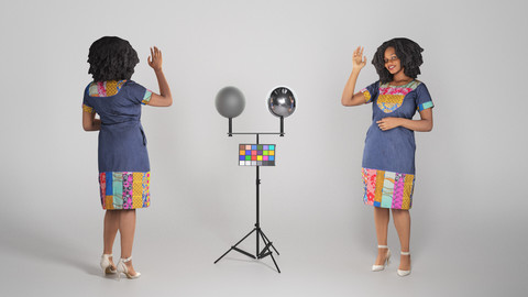 Beautiful African woman in a dress waving 220