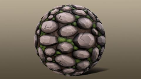Stylized Mossy Rock Wall Material