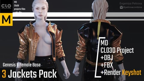 Clo3d, Marvelous Designer Project. 3 Jackets pack.