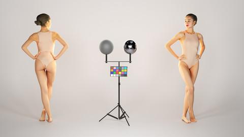Attractive woman in nude bodysuit posing 223