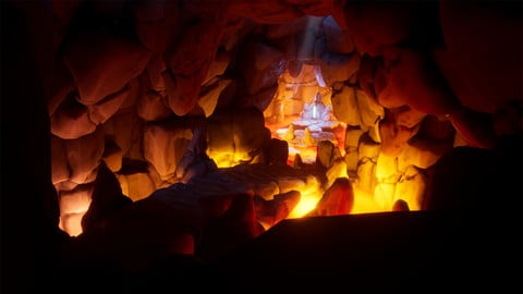 Stylized Lava Cave (With Unreal Engine Scene)