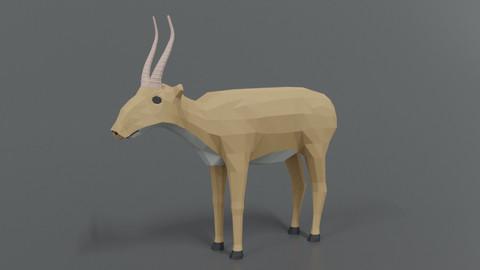 Low Poly Cartoon Saiga Antelope