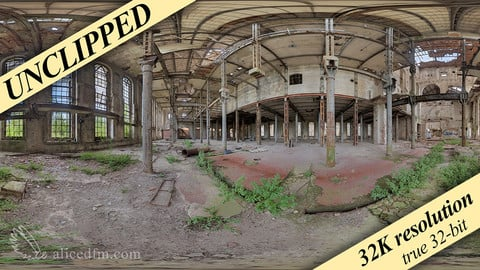 Abandoned Factory, 360x180 HDRI, UNCLIPPED, 32K resolution (2K version for free), true 32-bit uncompressed openEXR