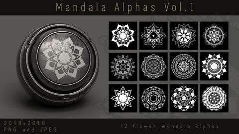 Ornate Lotus Flower Mandala Alphas - Ornament Alpha pack for Substance, PNG, JPEG