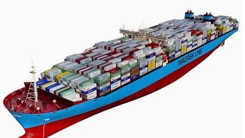 Maersk Triple E 1st generation Containers 399m 3D model