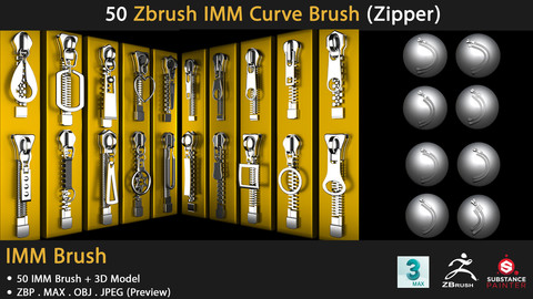 50 Zbrush IMM Curve Brush (Zipper)