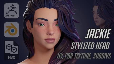 Jackie - girl stylized head (Zbrush, blender, fbx, obj)