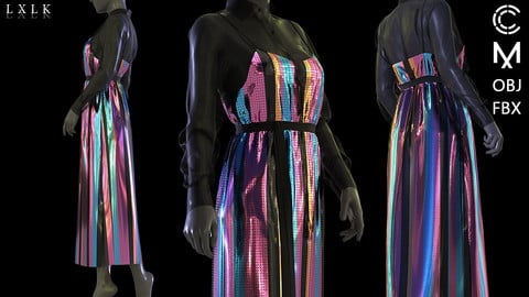 stripe sequin strap dress