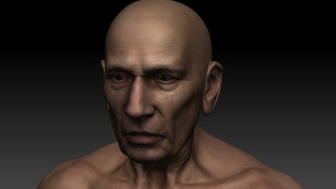 Jeff old man base mesh anatomy low poly 70/10k
