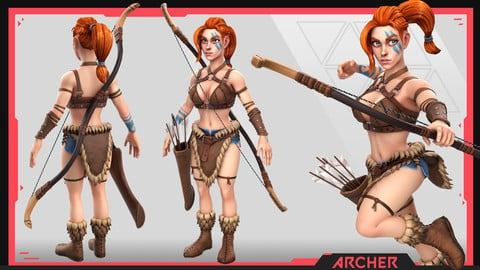 Female Viking Stylized Base Mesh. Textured Low Poly full body and clothes