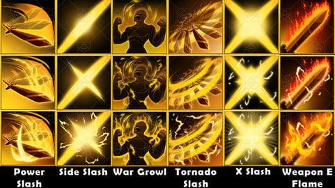 Fantasy Game Basic War Move Skill Icons - Attack Skills