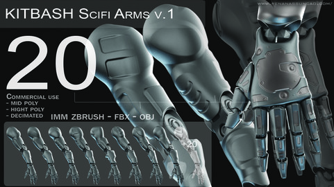IMM 20 Scifi Arms KitBash with Uvs - Plus LP+HP) .obj/.fbx