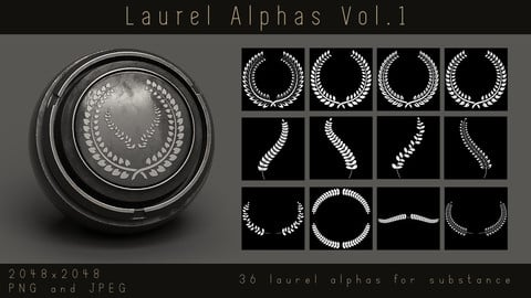 Laurel Alphas - Leaf Wreath Ornament Alpha pack for Substance, PNG, JPEG