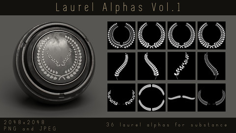 Laurel Alphas - 36 Leaf Wreath Ornament Alpha pack for Substance and zbrush, PNG, JPEG