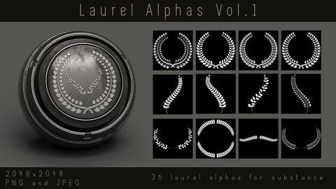 Laurel Alphas - 36 Leaf Wreath Ornament Alpha pack for Substance and zbrush, PNG, JPEG