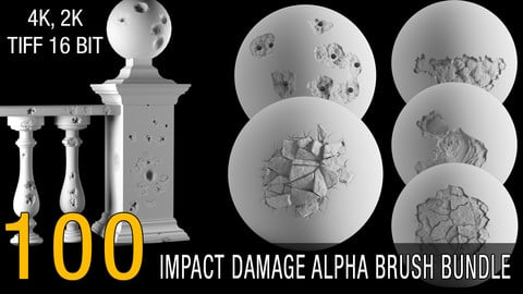 100 damage alpha brush bundle (impact) 4k, 2k tiff 16 bit